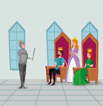 king and queen sitting in the chairs with princess and prince to tale character, vector illustration Ilustrace