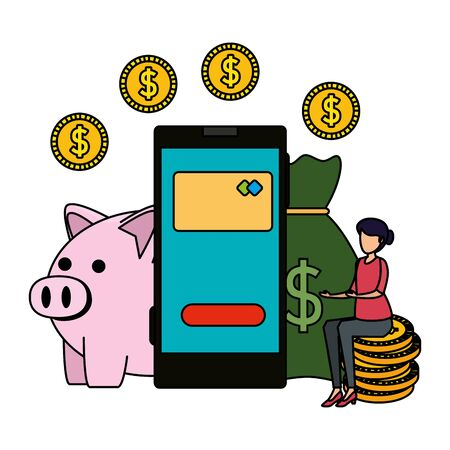 young woman using smartphone and piggy with money vector illustration design