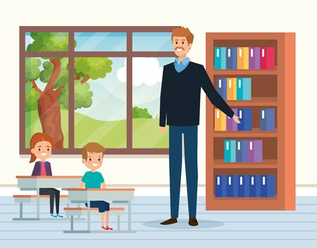 man teacher with kids in the classroom and window to academic education vector illustration