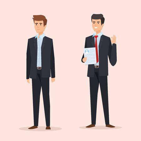 profesjonalni eleganccy biznesmeni z ilustracją wektorową dokumentów Ilustracje wektorowe