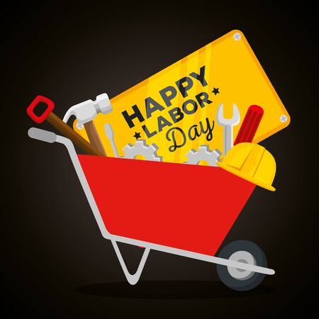wheelbarrow with emblem and hammer with wrench and helmet to labor day, vector illustration Foto de archivo - 129824664