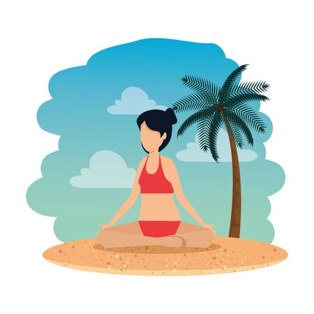 woman with swimsuit practicing yoga on the beach vector illustration design