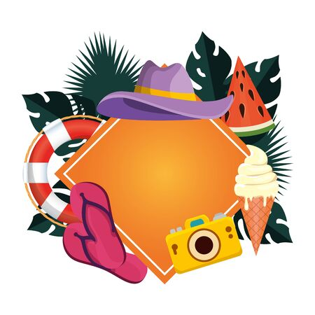 summer circular frame with leafs and summer hat vector illustration design