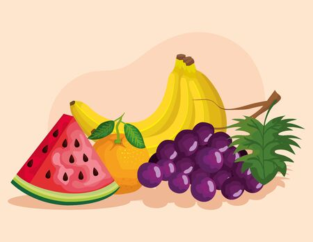 delicious and fresh fruits healthy nutrition over pink background, vector illustration