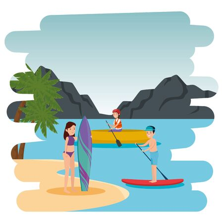 couple practicing surf sport and kayak on the beach vector illustration design
