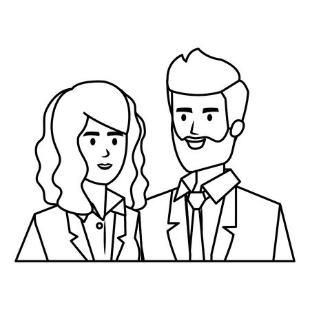 business couple avatars characters vector illustration design  イラスト・ベクター素材