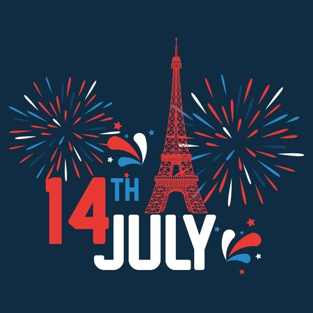 eiffel tower with fireworks to14th july holiday of bastille day vector illustration