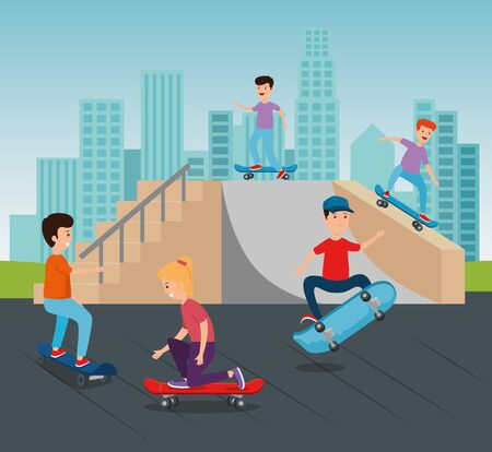 boys and girl practing skateboard in the ramps and building cityscape vector illustration 일러스트