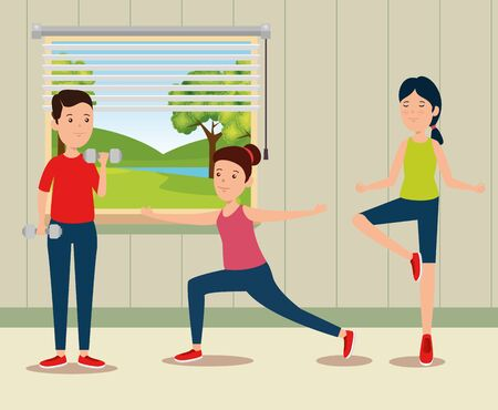 girls practice yoga activity in the home to summer sport vector illustration Illustration