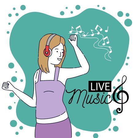 fille de mode dansant avec la technologie des écouteurs pour écouter de la musique, illustration vectorielle