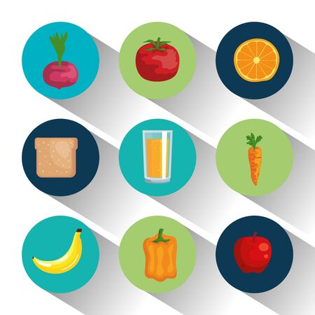 set healthy fruits and vegetables with bread and juice over white background, vector illustration