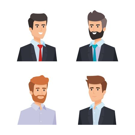 set professionalbusinessman with shirt and hairstyle vector illustration Vettoriali
