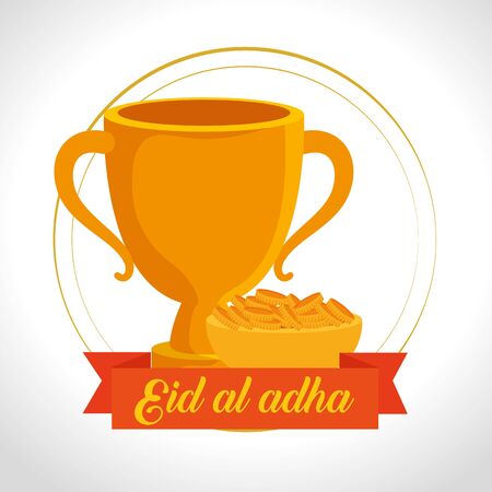 chalice with gold coins and ribbon decoration to eid al adha celebration, vector illustration