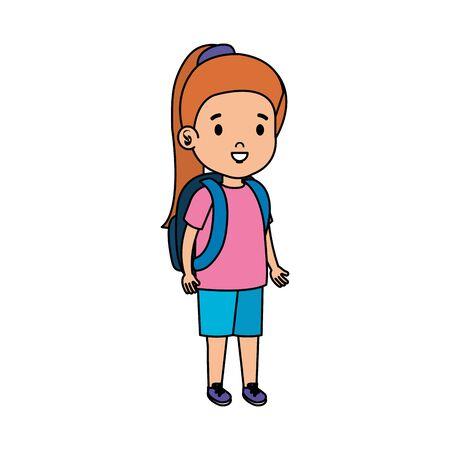 little girl kid character vector illustration design Standard-Bild - 129808917