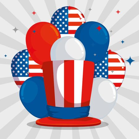 usa flag balloons with hat and stars decoration to labor day, vector illustration