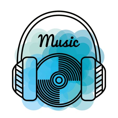 headphones and play cd and rhythm melody to music style vector illustration