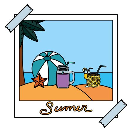 photo snapshot with summer beach seascape scene vector illustration design