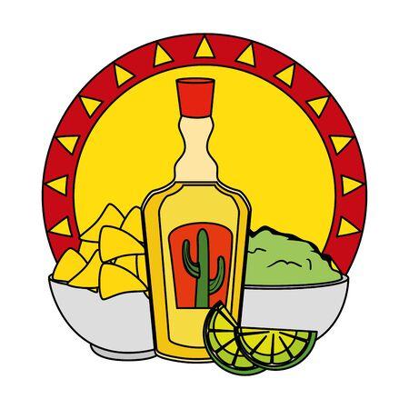 tequila with nachos and guacamole cinco de mayo celebration vector illustration