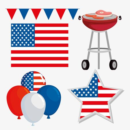 set of party banner with usa flag and balloons to labor day celebration, vector illustration