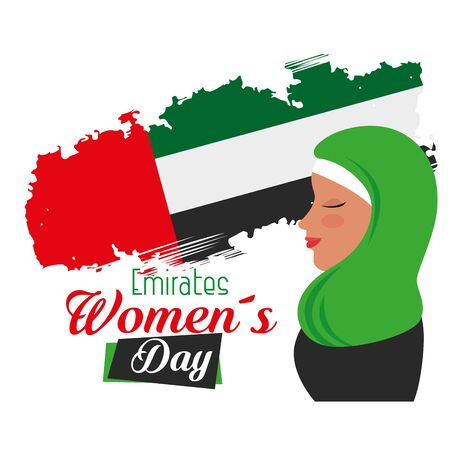 happy woman with patriotic flag design to emirates womens day, vector illustration