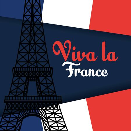 france flag with eiffel tower to happy bastille on july 14 vector illustration