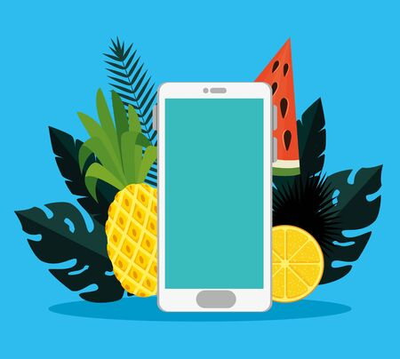 smartphone technology with fruits and exotic leaves to summer vacation vector illustration