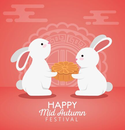 rabbits together with cookie and chinese decoration to mid autumn festival, vector illustration Illustration