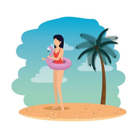 beautiful woman with flemish float on the beach vector illustration design Illustration