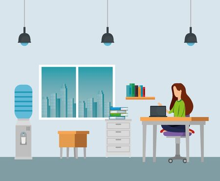 businesswomen with laptop in the desk and chairs with windows to business office, vector illustration Zdjęcie Seryjne - 129824715