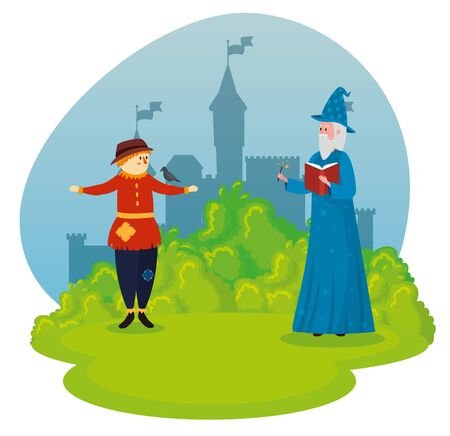 scarecrow with old man wizard and magic wand to tale character, vector illustration