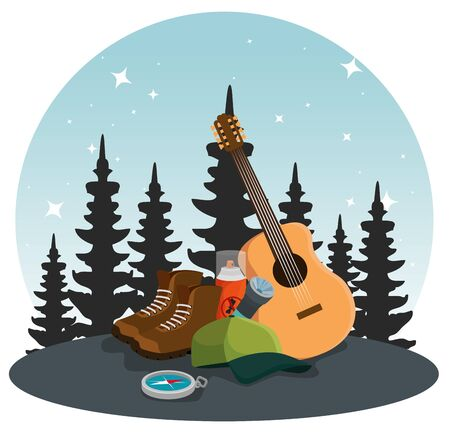 pines trees landscape with guitar and boots to summer adventure vector illustration