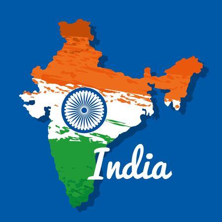Carte de l'Inde de patriotisme et drapeau national à l'illustration vectorielle de la fête de l'indépendance