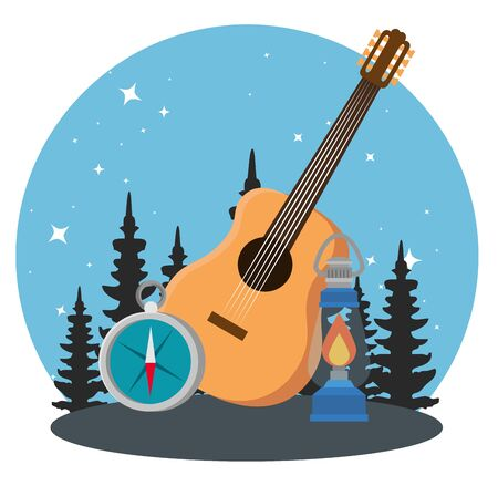 wanderlust adventure with pines trees and guitar to camping vector illustration Stock fotó - 129824724