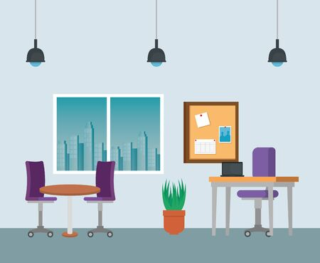 laptop in the desk with chair and table with noteboard to business office, vector illustration Zdjęcie Seryjne - 129824723