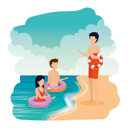 young people with floats on the beach vector illustration design Иллюстрация