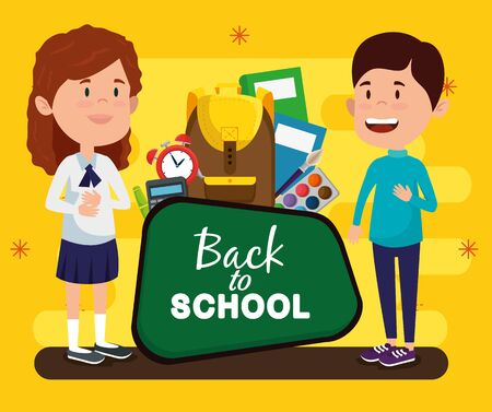 girl and boy with blackboard and books with clock alarm to back to school vector illustration