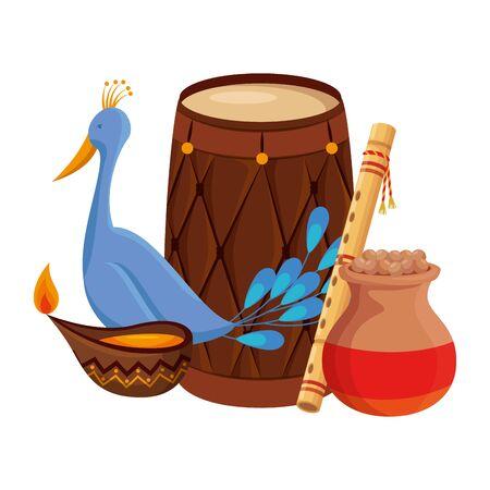 indische Trommel mit Kerzen- und Pfauenvektorillustrationsdesign