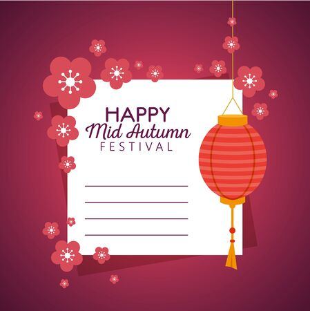 letter with flowers design and lantern decoration hanging to mid autumn festival, vector illustration