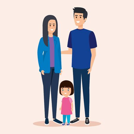 woman and man with daughter and casual clothes vector illustration Standard-Bild - 129809860