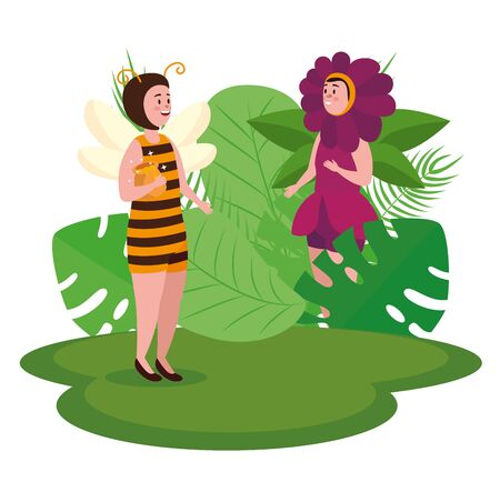 bee and flower fairies with leaves plants to tale character, vector illustration Archivio Fotografico - 129824744