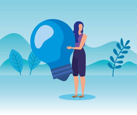 woman with bulb idea business strategy in the landscape mountains, vector illustration