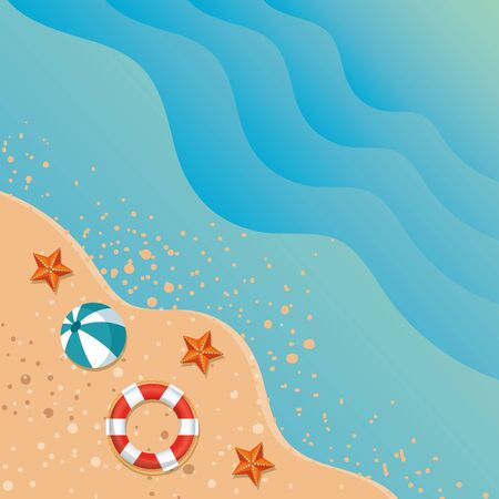 summer beach seascape with ocean and icons vector illustration design