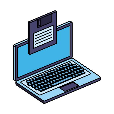 laptop computer device with floppy disk vector illustration design