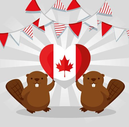 beavers with heart canada flag and party banner to happy holiday vector illustration