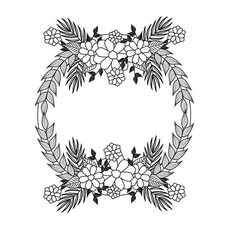 beautiful flowers with leafs circular frame vector illustration design Archivio Fotografico - 129824762