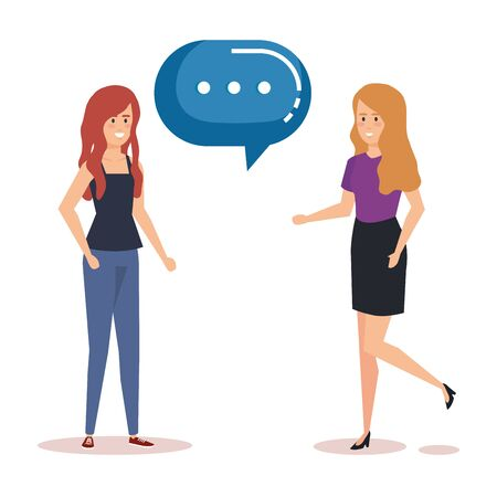 couple girls talking characters vector illustration design