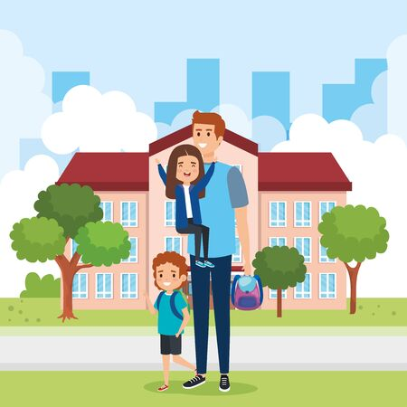 father with girl and boy students with backpack in the school vector illustration