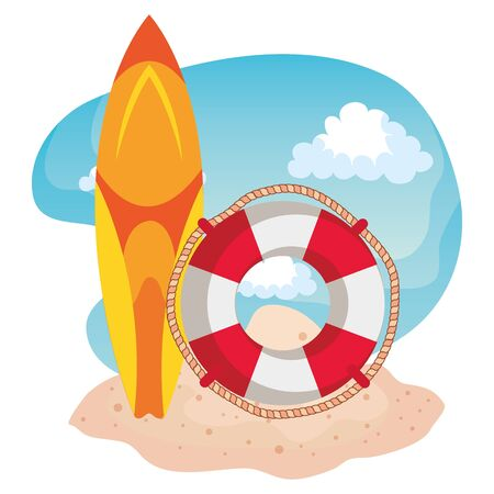 surfboard and float with rope in the beach sand to summer time vector illustration