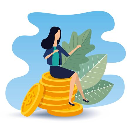 busineswoman sitting in the coins with leaves plants to strategy plan, vector illustration