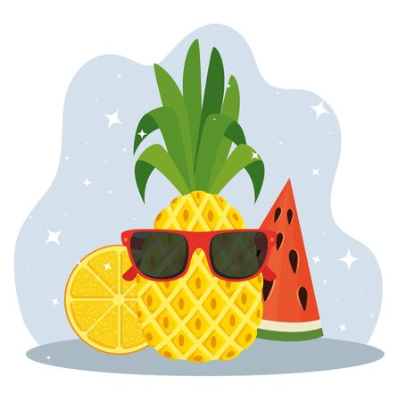 pineapple wearing sunglasses and watermelon with lemon fruits to summer time vecor illustration